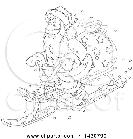 Clipart of a Cartoon Black and White Lineart Christmas Santa Claus on a Sled - Royalty Free Vector Illustration by Alex Bannykh