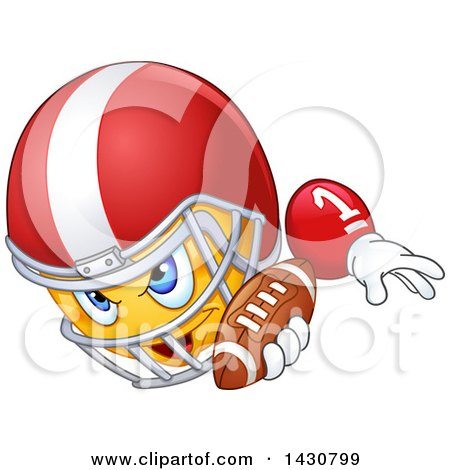 Clipart of a Cartoon Yellow Emoji Emoticon Smiley Football Player - Royalty Free Vector Illustration by yayayoyo