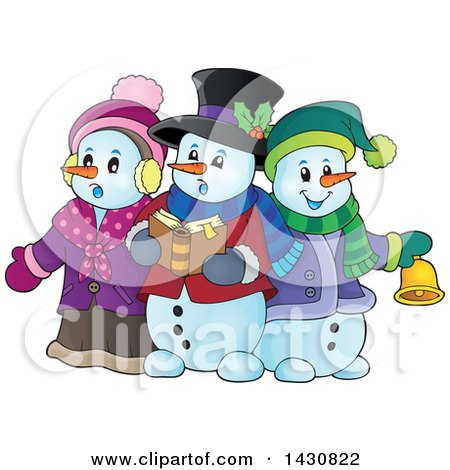 Clipart of a Group of Snowmen Singing Christmas Carols - Royalty Free Vector Illustration by visekart
