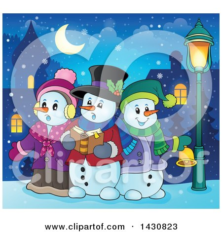 Clipart of a Group of Snowmen Singing Christmas Carols in a Village - Royalty Free Vector Illustration by visekart