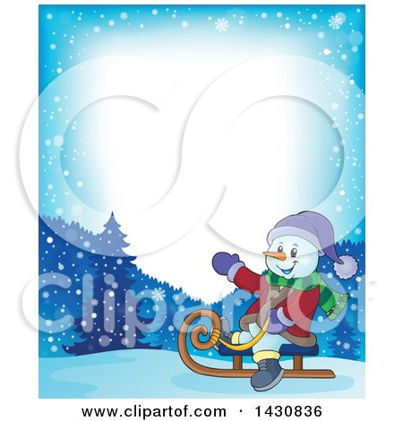 Clipart of a Border of a Christmas Snowman Sledding - Royalty Free Vector Illustration by visekart