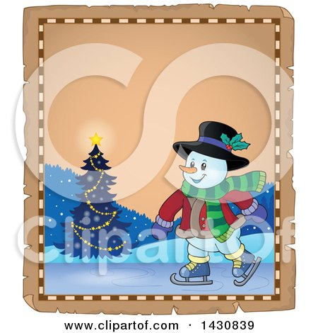 Clipart of a Christmas Snowman Ice Skating over a Parchment Scroll - Royalty Free Vector Illustration by visekart