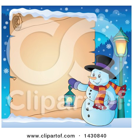 Clipart of a Christmas Snowman Holding a Lantern over a Parchment Scroll - Royalty Free Vector Illustration by visekart