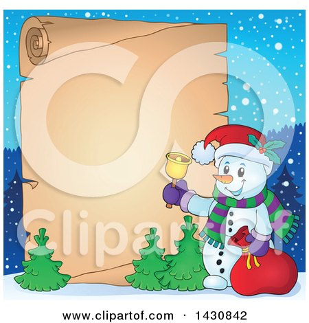 Clipart of a Christmas Snowman Ringing a Bell over a Parchment Scroll - Royalty Free Vector Illustration by visekart