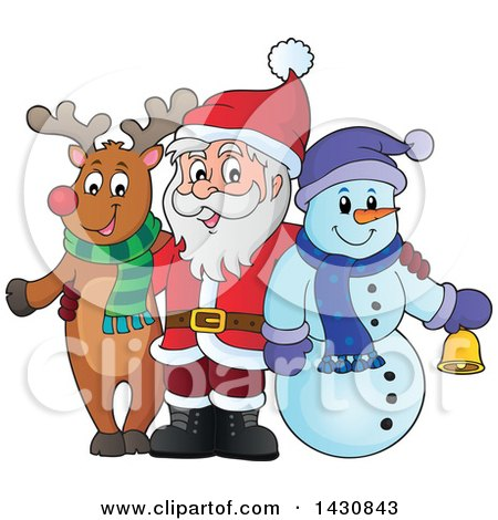 Clipart Of A Christmas Snowman And Reindeer Posing With Santa Royalty Free Vector Illustration