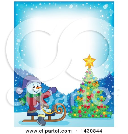 Clipart of a Border of a Christmas Snowman Sledding by a Christmas Tree - Royalty Free Vector Illustration by visekart