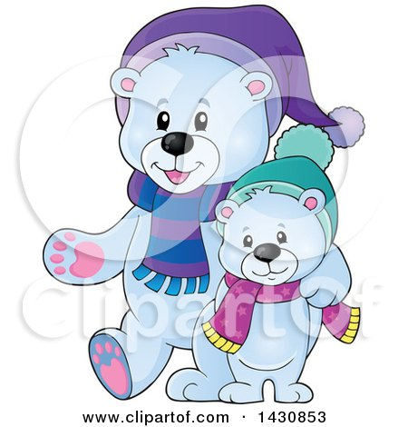 Clipart of a Happy Christmas Polar Bear and Cub Walking - Royalty Free Vector Illustration by visekart