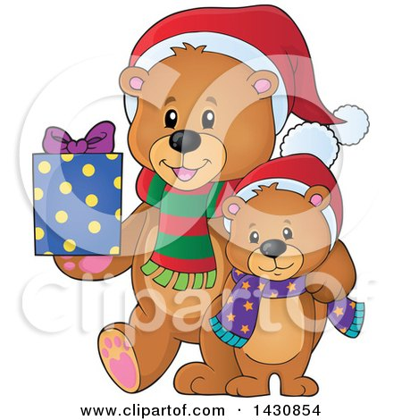 Clipart of a Happy Christmas Bear and Cub With a Gift - Royalty Free Vector Illustration by visekart