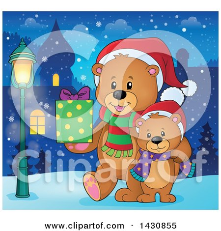 Clipart of a Happy Christmas Bear and Cub Walking with a Gift in a Village - Royalty Free Vector Illustration by visekart
