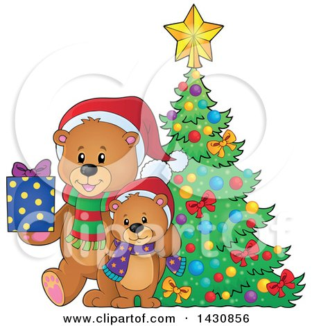 Clipart of a Happy Bear and Cub with a Gift by a Christmas Tree - Royalty Free Vector Illustration by visekart