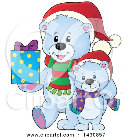Clipart of a Happy Christmas Polar Bear and Cub Holding a Gift - Royalty Free Vector Illustration by visekart