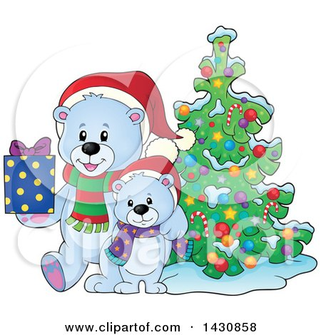 Clipart of a Happy Christmas Polar Bear and Cub Holding a Gift by a Tree - Royalty Free Vector Illustration by visekart