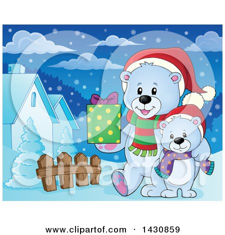 Clipart of a Happy Christmas Polar Bear and Cub Walking with a Gift in a Village - Royalty Free Vector Illustration by visekart