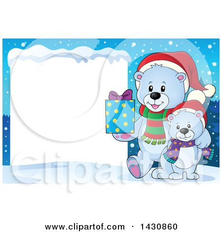 Clipart of a Happy Christmas Polar Bear and Cub Holding a Gift by a Blank Sign - Royalty Free Vector Illustration by visekart