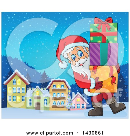 Clipart of a Jolly Santa Claus Carrying a Stack of Christmas Gifts in a Village - Royalty Free Vector Illustration by visekart