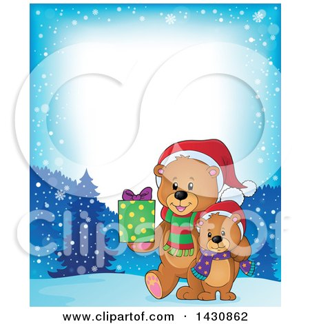 Clipart of a Border of a Happy Christmas Bear and Cub Walking with a Gift on a Snowy Night - Royalty Free Vector Illustration by visekart