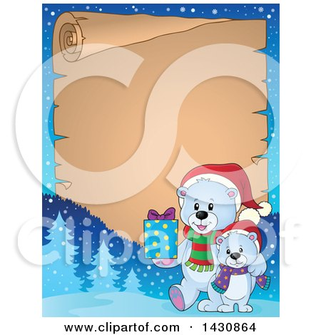 Clipart of a Border of a Happy Christmas Polar Bear and Cub Walking with a Gift over Parchment Paper - Royalty Free Vector Illustration by visekart
