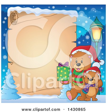 Clipart of a Border of a Happy Christmas Bear and Cub Walking with a Gift over Parchment Paper - Royalty Free Vector Illustration by visekart