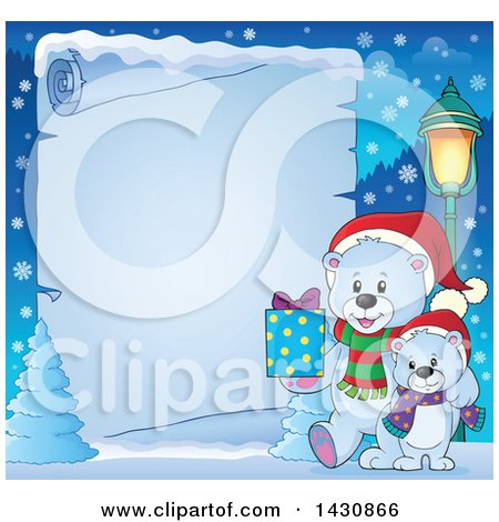 Clipart of a Border of a Happy Christmas Polar Bear and Cub Walking with a Gift over Icy Parchment Paper - Royalty Free Vector Illustration by visekart