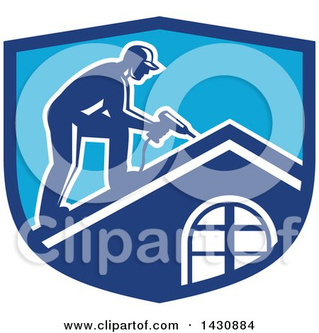 Clipart of a Retro Male Worker Using a Hand Drill on a Roof in a Blue Crest - Royalty Free Vector Illustration by patrimonio