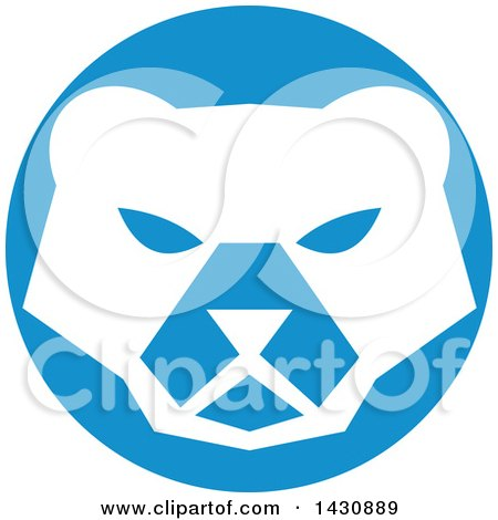 Clipart of a Retro White Polar Bear Face in a Blue Circle - Royalty Free Vector Illustration by patrimonio
