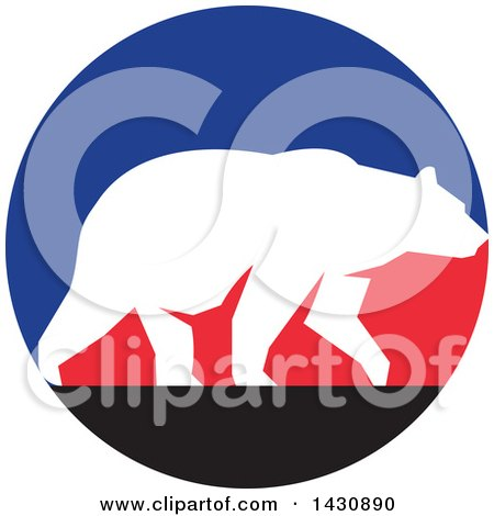 Clipart of a White Silhouetted Grizzly Bear Walking in a Blue, Red and Black Circle - Royalty Free Vector Illustration by patrimonio
