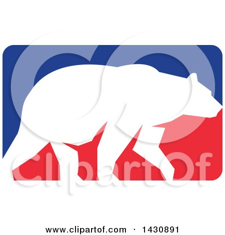 Clipart of a White Silhouetted Grizzly Bear Walking in a Red and Blue Rectangle - Royalty Free Vector Illustration by patrimonio
