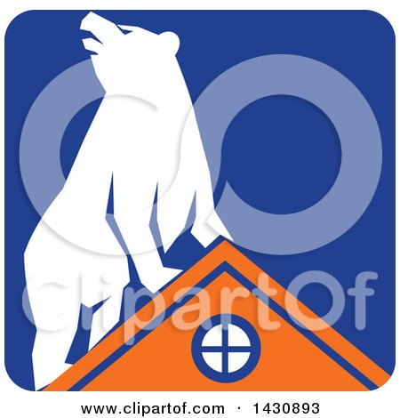 Clipart of a Retro White Bear on Top of an Orange House in a Blue Square - Royalty Free Vector Illustration by patrimonio