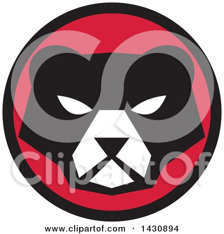 Clipart of a Retro Black and White Bear Face in a Red and Black Circle - Royalty Free Vector Illustration by patrimonio