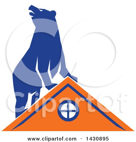 Clipart of a Retro Blue Bear on Top of an Orange House - Royalty Free Vector Illustration by patrimonio