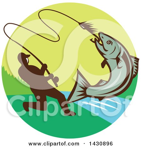 Clipart of a Retro Silhouetted Man Reeling in a Hooked Salmon Fish in a Circle with a River - Royalty Free Vector Illustration by patrimonio
