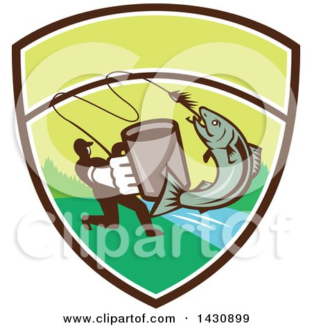 Clipart of a Retro Silhouetted Man Holding out a Coffee Mug and Reeling in a Hooked Salmon Fish in a Shield with a River - Royalty Free Vector Illustration by patrimonio