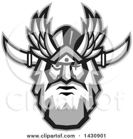 Clipart of a Retro Face of Odin with a Beard and Helmet and Bind over One Eye - Royalty Free Vector Illustration by patrimonio