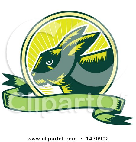 Clipart of a Retro Woodcut Rabbit in a Sunrise Circle with a Green Banner - Royalty Free Vector Illustration by patrimonio