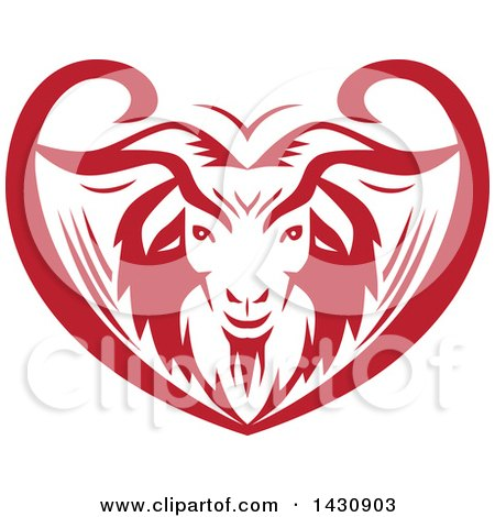 Clipart of a Retro Red and White Cashmere Goat Head in an Ornate Swirl Heart - Royalty Free Vector Illustration by patrimonio
