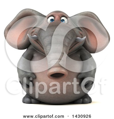 Clipart of a 3d Elephant, on a White Background - Royalty Free Illustration by Julos