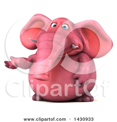 Clipart of a 3d Pink Elephant Presenting, on a White Background - Royalty Free Illustration by Julos