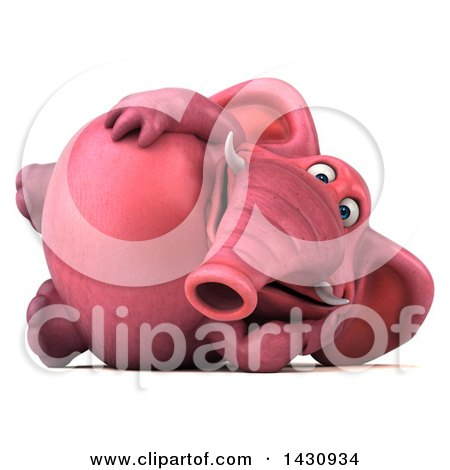 Clipart of a 3d Pink Elephant Resting on His Side, on a White Background - Royalty Free Illustration by Julos