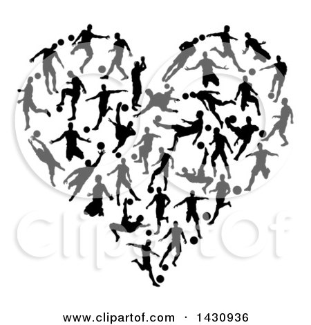 Clipart of a Heart Made of Black Silhouetted Soccer Players in Action - Royalty Free Vector Illustration by AtStockIllustration