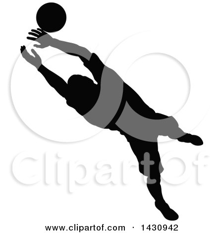 Clipart of a Black Silhouetted Male Soccer Player Goal Keeper Catching the Ball - Royalty Free Vector Illustration by AtStockIllustration