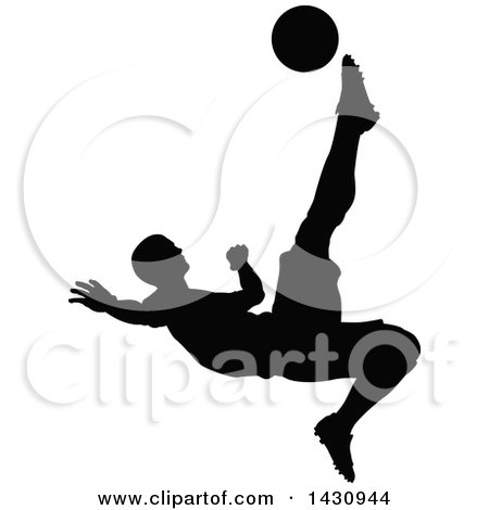 Clipart of a Black Silhouetted Male Soccer Player Kicking - Royalty Free Vector Illustration by AtStockIllustration