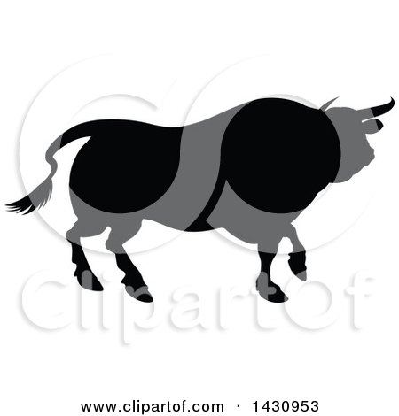 Clipart of a Black Silhouetted Bull Cow - Royalty Free Vector Illustration by AtStockIllustration