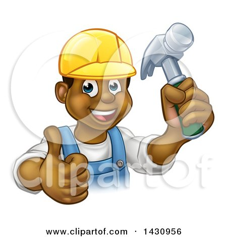 Clipart of a Cartoon Happy Black Male Carpenter Holding a Hammer and Giving a Thumb up - Royalty Free Vector Illustration by AtStockIllustration
