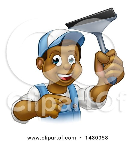 Clipart of a Cartoon Happy Black Male Window Cleaner in Blue, Pointing and Holding a Squeegee - Royalty Free Vector Illustration by AtStockIllustration
