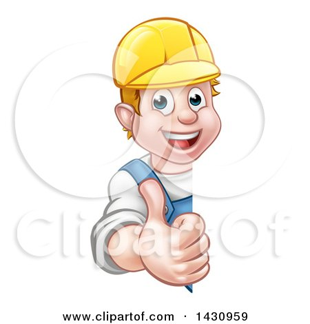 Cartoon Happy White Male Worker Giving a Thumb up Around a Sign Posters, Art Prints
