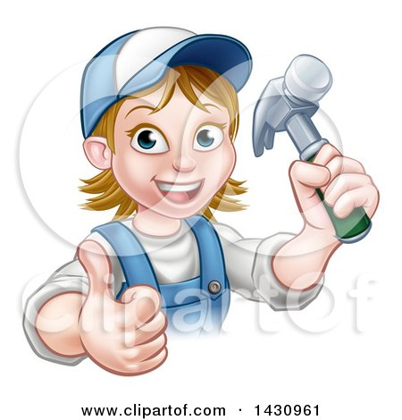 Cartoon Happy White Female Carpenter Holding a Hammer and Giving a Thumb up Posters, Art Prints