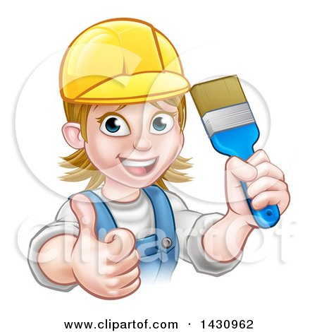 Clipart of a Cartoon Happy White Female Painter Holding up a Brush and Giving a Thumb up - Royalty Free Vector Illustration by AtStockIllustration
