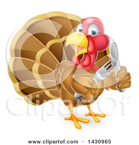 Clipart of a Thanksgiving Turkey Bird Holding Silverware - Royalty Free Vector Illustration by AtStockIllustration