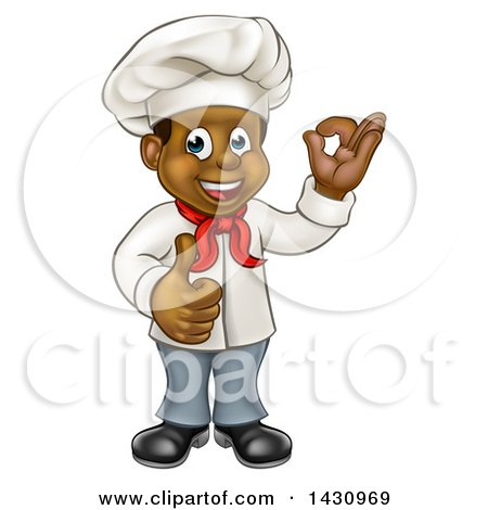 Clipart of a Cartoon Happy Black Male Chef Gesturing Ok or Perfect and Giving a Thumb up - Royalty Free Vector Illustration by AtStockIllustration
