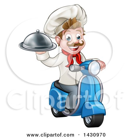 Clipart of a Cartoon Happy White Male Chef, Holding a Cloche on a Delivery Scooter - Royalty Free Vector Illustration by AtStockIllustration